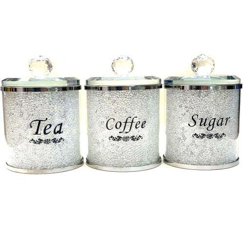 Crushed Diamond Tea Coffee Sugar CANISTERS Jars Storage WhireCrystal