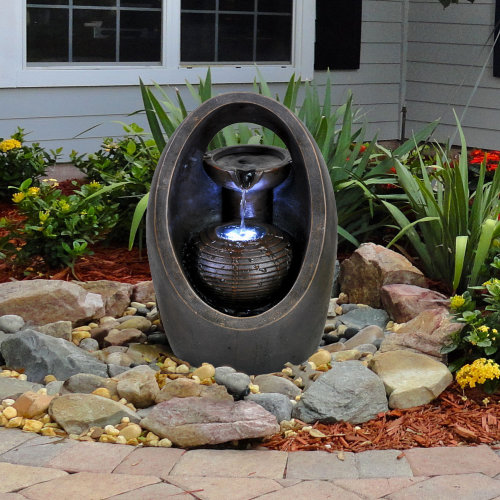 (Oval Fountain) GEEZY Polyresin Water Fountains with LED Lights