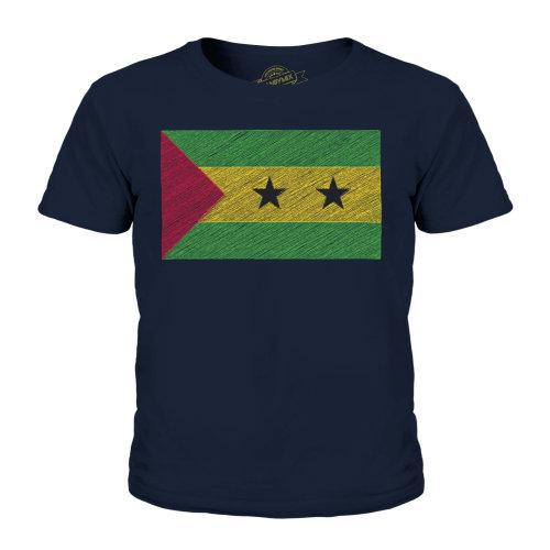 (Dark Navy, 7-8 Years) Candymix - Sao Tome E Principe Scribble Flag - Unisex Kid's T-Shirt