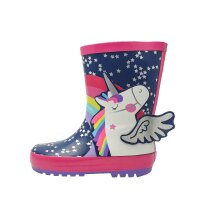 Unicorn Thick Rubber Wellies in Rainbow Colours