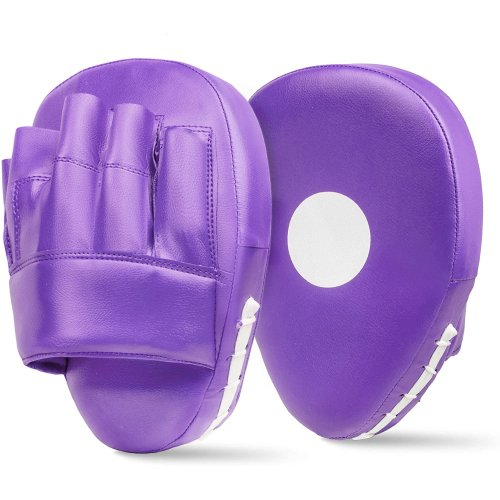 Curved Focus Pads Purple Punch Bag Mitts Boxing MMA Kick Training