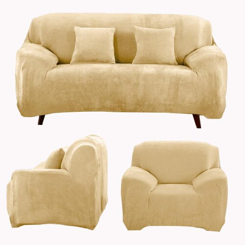(6. Beige, Pillowcase(45*45cm)) Stretchable 1/2/3/4 Seater Sofa Cover Slipcover Settee Couch Protector