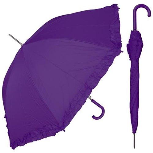 RainStoppers S010PU 48 in. Auto Open Purple Parasol Umbrella with Ruffle, 6 Piece