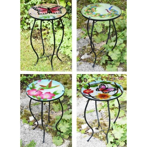 GEEZY Decorative Glass Round Garden Table | Garden Side Table