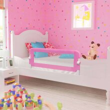 vidaXL Toddler Safety Bed Rail Pink 120x42cm Polyester Protective Guard Gate