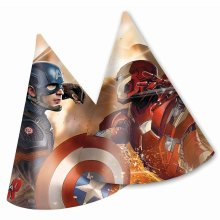 Pack of 6 Captain America Civil War Party Cone Hats - Marvel Party Accessories