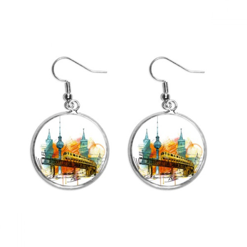 Tokyo Japan Rail Train Tower Ear Dangle Silver Drop Earring Jewelry Woman