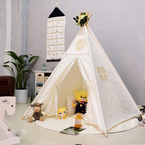 (White Flower) Kids Teepee Play Tent Cotton Canvas Indian Tipi