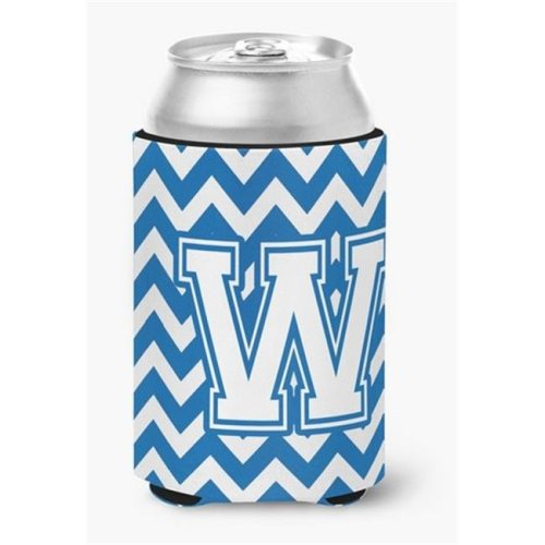 Letter W Chevron Blue & White Can or Bottle Hugger, 0.25 x 4 x 5.5 in.