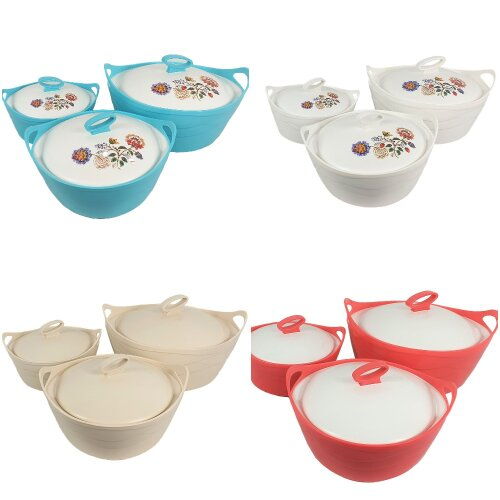 Insulated Serving Dishes Hot Pot Set 3Pc White