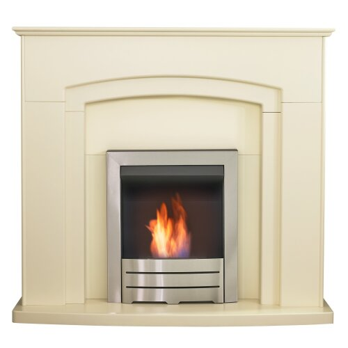 Adam Falmouth Fireplace in Cream with Downlights & Colorado Bio Ethanol Fire in Brushed Steel, 49 Inch