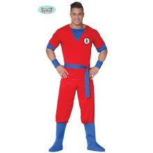 Generique - Red Manga Fighter costume for men Carnival Anime Size