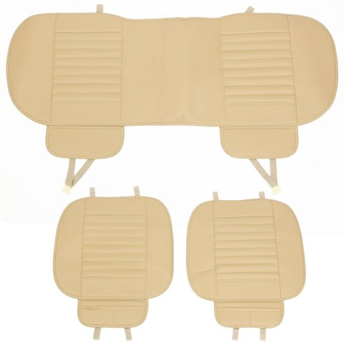 3pcs Car Front Rear Seat Cover Breathable PU Leather Bamboo Charcoal Pad Mat Car Seat cushion