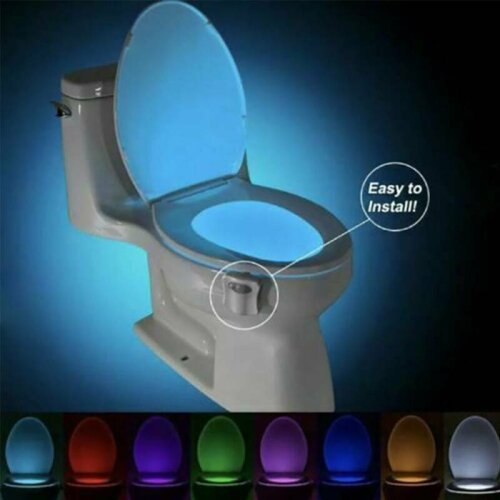 LED Toilet Bathroom Night Light Motion Activated Seat Sensor 8 Colour Changing