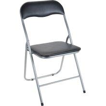 Folding Chair. Folding Black Padded Seat & Black Chair & Silver Metal Frame