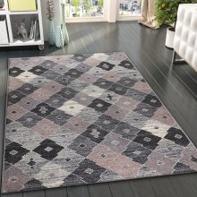 Dusty Pink Grey Rug Geometric Pattern Small Large Carpet Woven Living Room Bedroom Mat