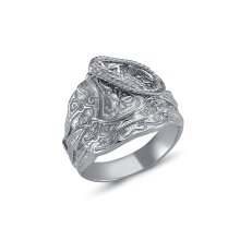 Jewelco London Mens Rhodium Plated Sterling Silver Horse Rope Saddle Ring 16mm