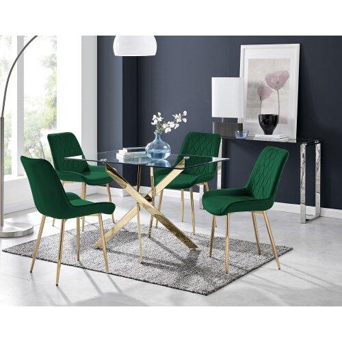 Leonardo 4 Gold Dining Table and 4 Pesaro Gold Leg Chairs