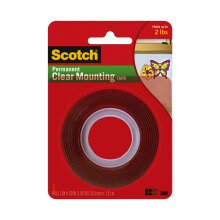Scotch Permanent Clear Mounting Tape, Holds up to 2 lbs, 1 in. x 60 in., 1 Roll