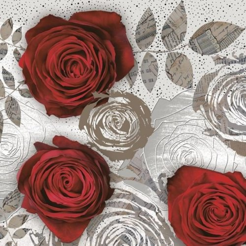 Maki  Pack of 20 Paper Napkins / Serviettes - Red Rose with Floral Print - 33cm x 33cm - 3 Ply