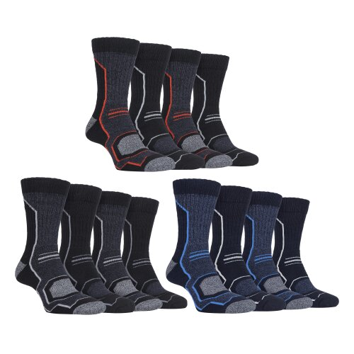 4 Pairs Mens Cushioned Anti Blister Breathable Walking Hiking Socks