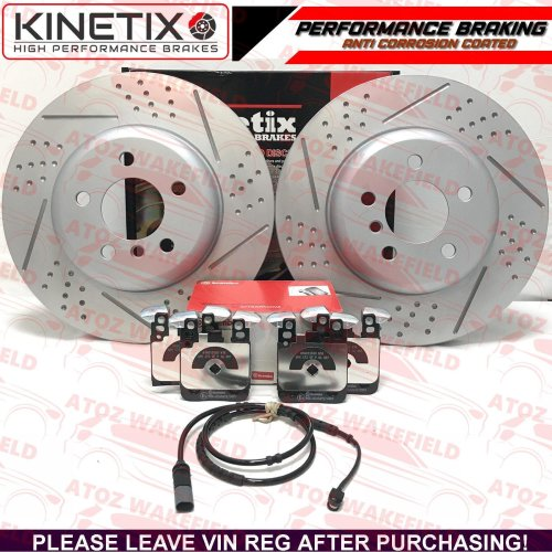 FOR BMW 330d REAR DIMPLED GROOVED BRAKE DISCS BREMBO PADS WIRE SENSOR 345mm