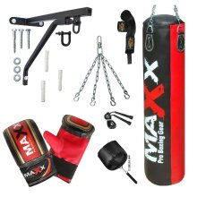 Maxx® Boxing Set 4ft Filled heavy punch bag bracket mitts chain Rope Wrap