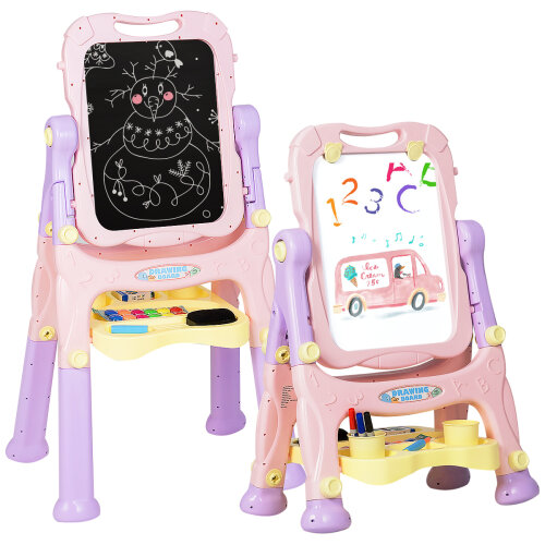 2 IN 1 Kids Double Sided Art Easel Height Adjustable Magnetic Drawing Board
