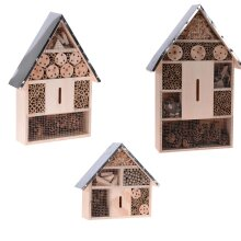 idooka M/L/XL Wooden Box Insect/Bug Hotel- Patio Garden Ornaments Outdoor Gardening Home Decor- Wooden Shed with Metal Roof Box Waterproof Design Gard