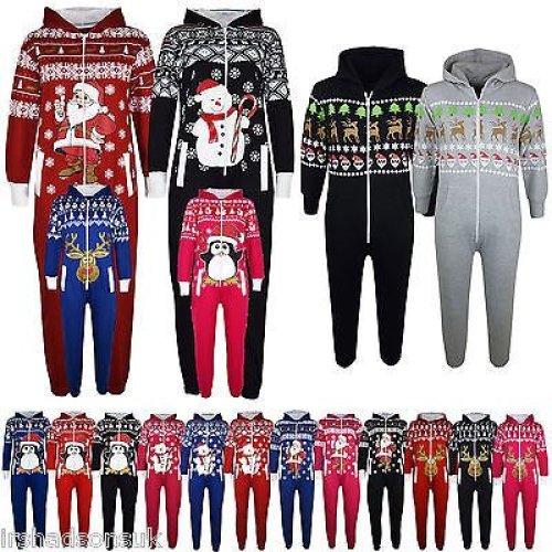 Kids Girls Boys Christmas Onesie Santa Penguin Snowman Print Jumpsuit 5-13 Years