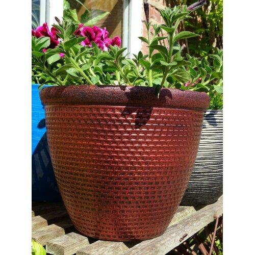 2 x Plastic Round Cromarty Plant Pot Flower Pot Planter Antique Copper 25cm