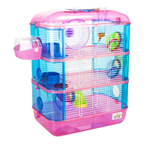 Lazy Bones Pink 3-Storey Hamster Cage | Plastic Hamster House