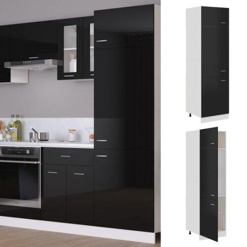 vidaXL Kitchen Cabinet High Gloss Black Chipboard Storage Cupboard Sideboard