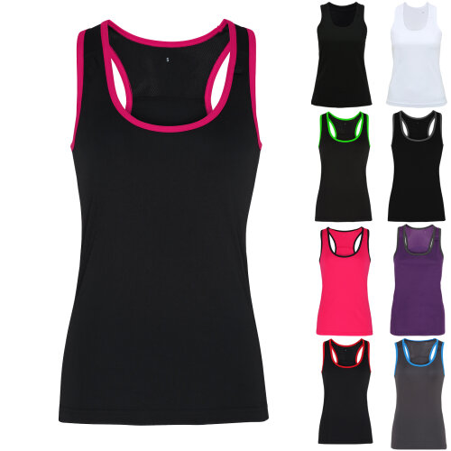 TriDri Womens Panelled Fitness Gym Running Sports Fitness Workout Vest Top Tee