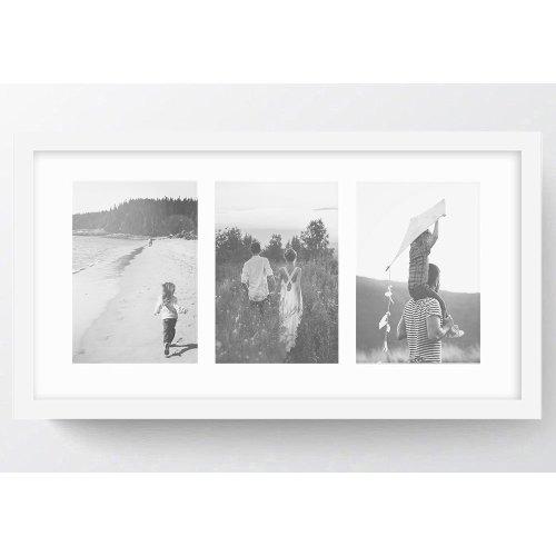"21x11""/3 7x5"" Multi Oxford White Photo Frame with Soft Cream Mount- Glass Window"