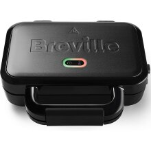 Breville Ultimate Deep Fill Toastie Maker   2 Slice Sandwich Toaster   Removable Non-Stick Plates   Stainless Steel   Black [VST082]