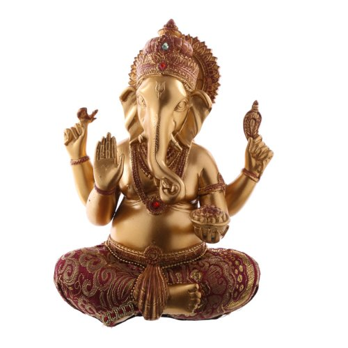 Decorative Ganesh Figurine - Red and Gold