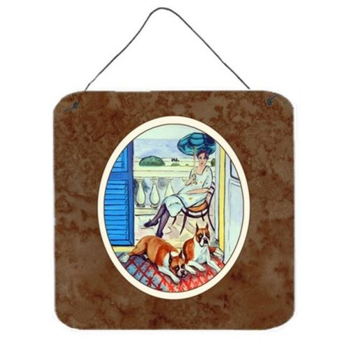 Lady with Her Boxer Wall or Door Hanging Prints