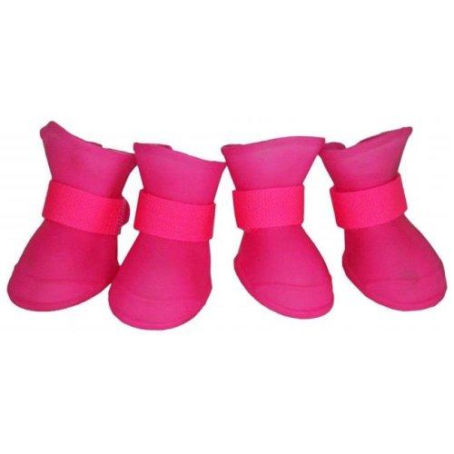 Pet Life F30PKMD Elastic Protective Multi-Usage All-Terrain Rubberized Dog Shoes, Pink - Medium