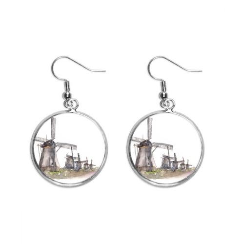 Windmill in Holand Ear Dangle Silver Drop Earring Jewelry Woman