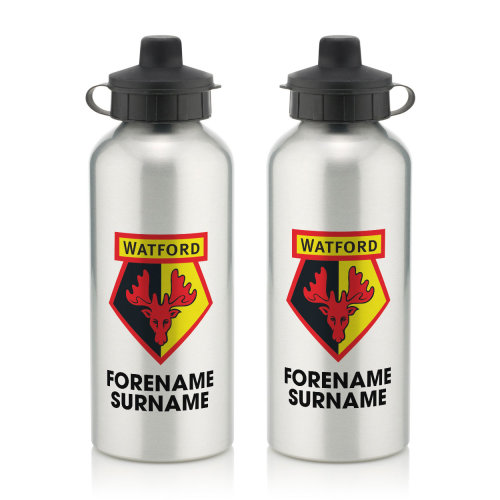 Official Personalised Watford FC Bold Crest Water Bottle
