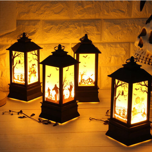 Halloween Pumpkin Castle Witch Light Table Lamp Home Party Hanging Lantern Decor