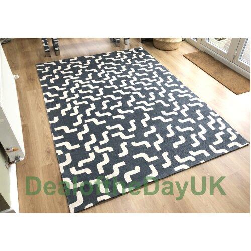 (120 x 180 cm) Large Cotton Print Grey Rug Small Hallway Runner Mat 60 x 120 x 180 170 x 240 cm