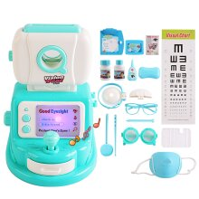 deAO Little Doctor Kids Eye Test Play Set with Accessories, Light, Sound Functions (Blue)