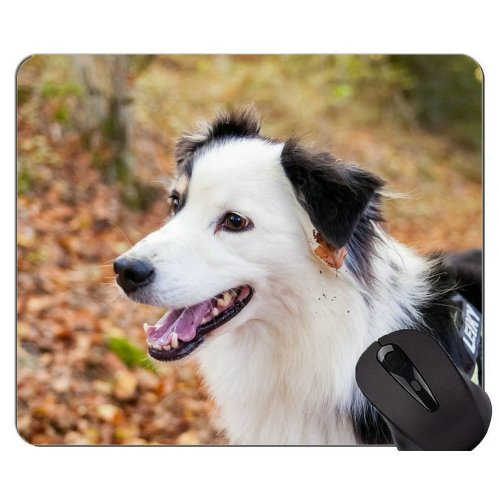 Animal Leaves Shepherd Dog Autumn Printed Mouse Pad,Dog Mouse Pad With Stitched Edges