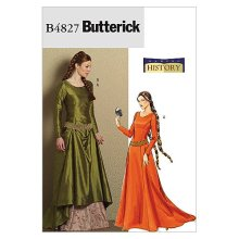 Butterick Patterns B4827 Size EE 14-16-18-20 Misses Medieval Dress and Belt, Pack of 1, White