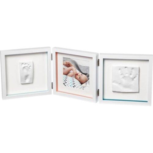 Baby Art Double Print Frame White Christening Gift Hand Print Impression Kit