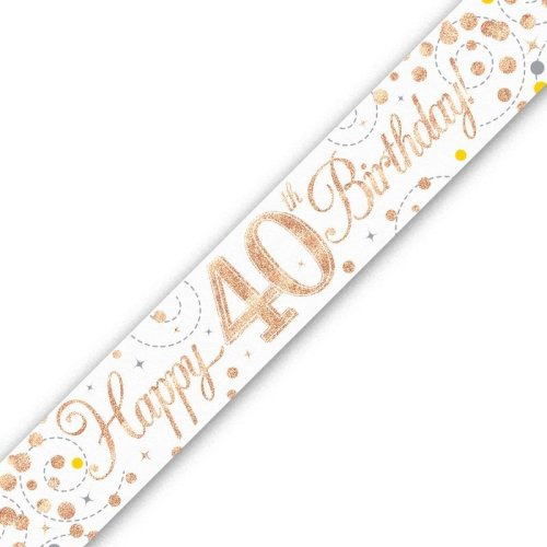 Holographic Rose Gold Happy 40th Birthday Banner