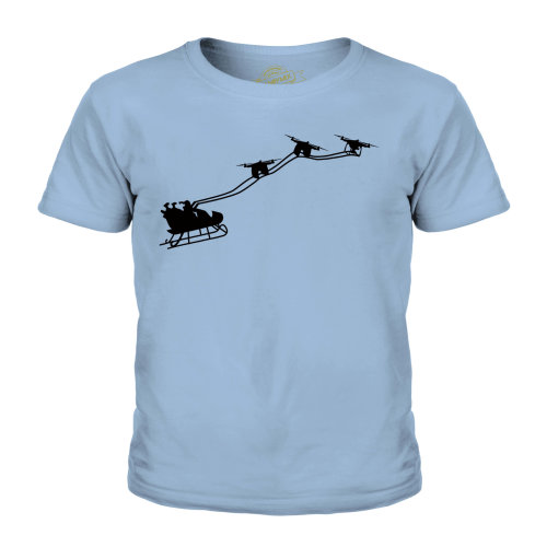 (Sky Blue, 9-10 Years) Candymix - Drone Santa - Unisex Kid's T-Shirt