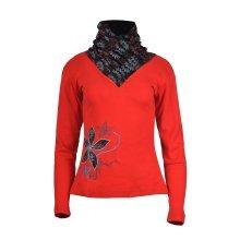 Women's Long Sleeve Tops High Neck Design Floral Pattern T-shirt.